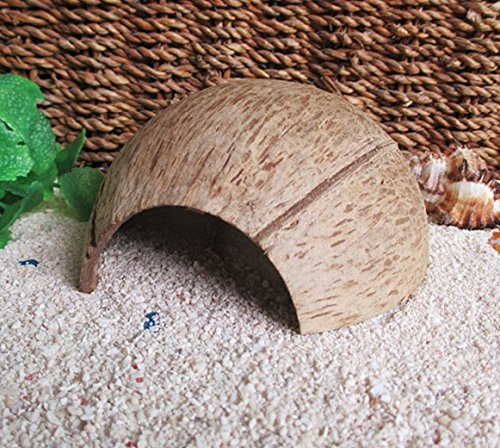 Coconut Shell Hut Natural Habitat Hideout for Fish, Lizards,Spiders,Hermit Crabs,Reptiles,Hamsters Organic Non-Toxic Hideout