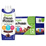 Orgain Grass Fed Clean Protein Shake, Creamy Chocolate Fudge - Meal Replacement, Ready to Drink, Gluten Free, Soy Free, Koshe