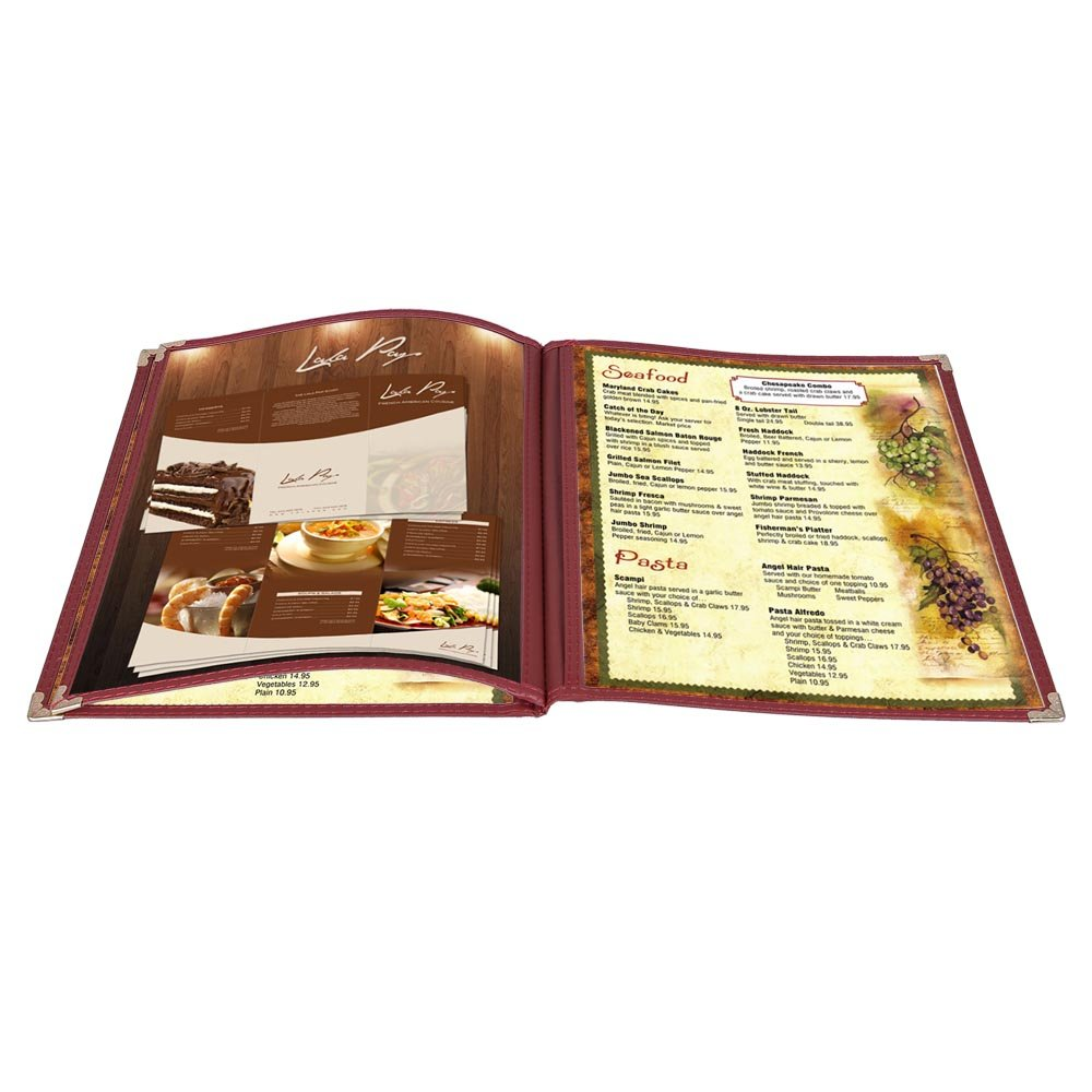Yescom 30Pack 8.5x11inches 6 View 3 Page Menu Covers Burgundy Trim Trifold Transparent Volume Folder