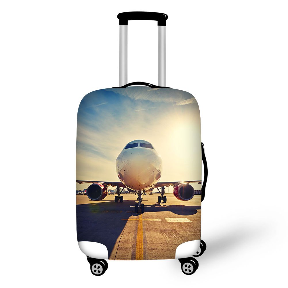 Travel Luggage Cover,3D Airplane Print Elastic Protector Fit 18-30''suitcase