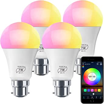 HaoDeng WiFi LED Light, 4Pack Smart Bulb -Timer& Sunrise& Sunset- Dimmable, Multicolor, Warm White (Color Changing Disco Ball Lamp) - 7W A19 B22(60W Equivalent), Compatible with Alexa, Google Home Assistant and IFTTT