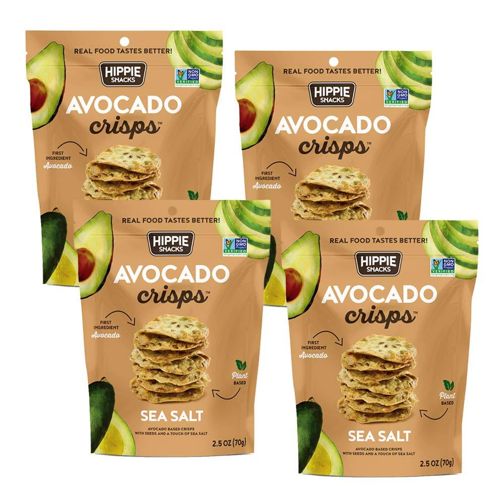 Hippie Snacks Avocado Crisps, Sea Salt, 2.5oz (Pack of 4)