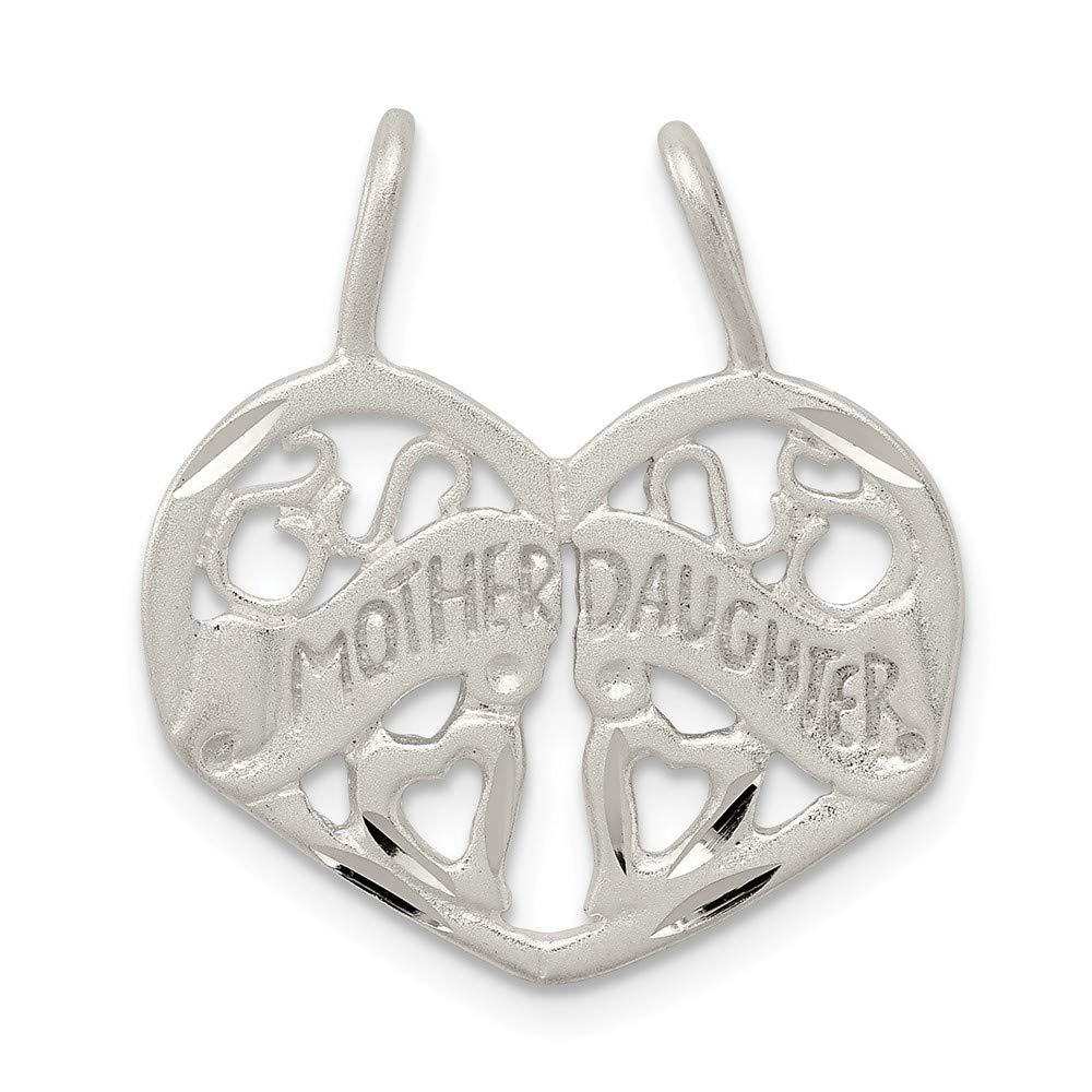 0.94 in x 0.83 in Jewel Tie Sterling Silver Mother Daughter 2-Piece Break Apart Charm