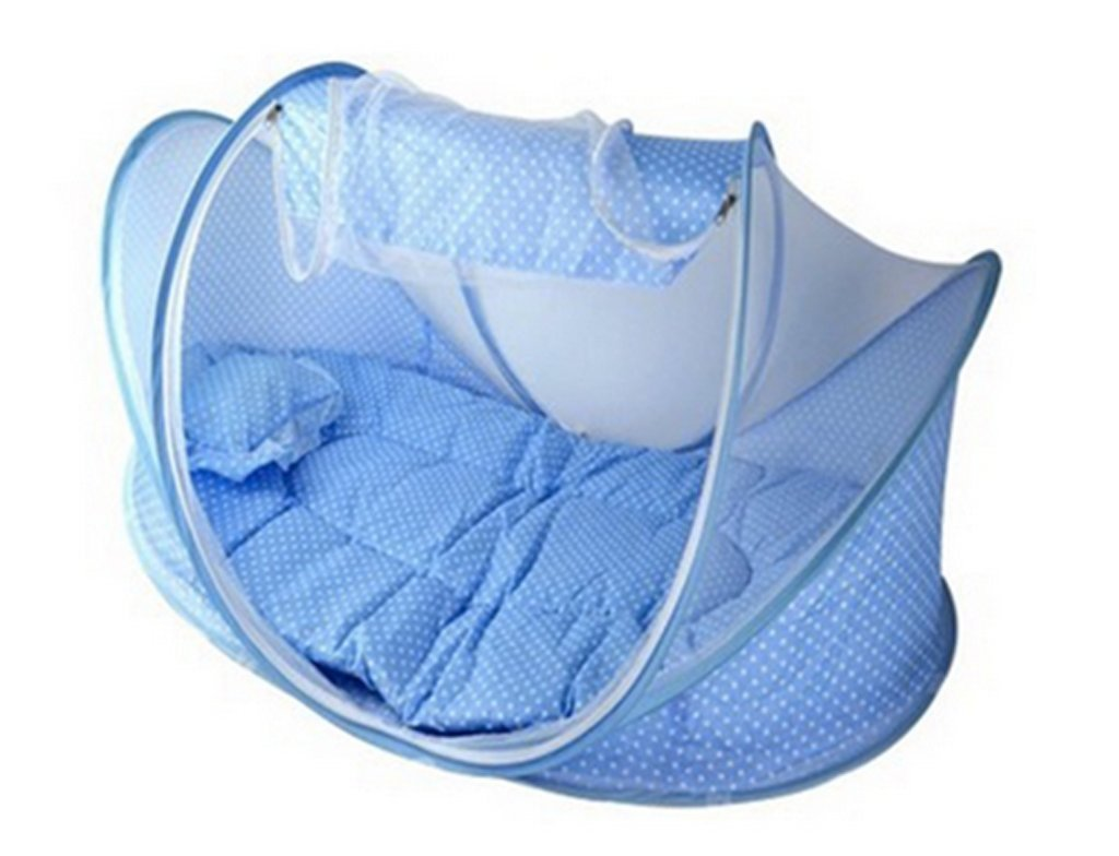 New Baby Crib 0-3 Years Baby Bed With Pillow Mat Set Portable Foldable Crib With Netting Newborn Cotton Sleep Travel Bed -Blue xff