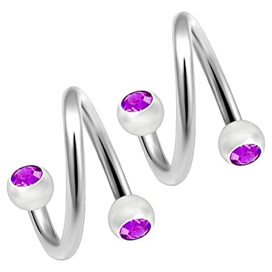 e73456aca9362 Amazon.com: Bling Piercing 2pc Twisted Barbell 16g Spiral Cartilage ...