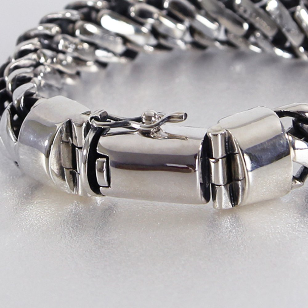 925 Sterling Silver Heavy Round Snake Men Bracelet - Made in Thailand - 9 by VY Jewelry (Image #4)