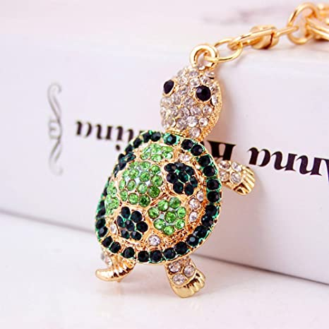 Jzcky Shzrp Cute Turtle Shape Crystal Rhinestone Keychain Key Chain Sparkling Key Ring Charm Purse Pendant Handbag Bag Decoration Holiday Gift(Green)