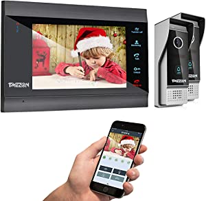 TMEZON Video Door Phone Wireless WIFI IP Doorbell with Monitor Intercom System 7 inch Kit Wired 2 Cameras Night Vision Front Door Release Unlock