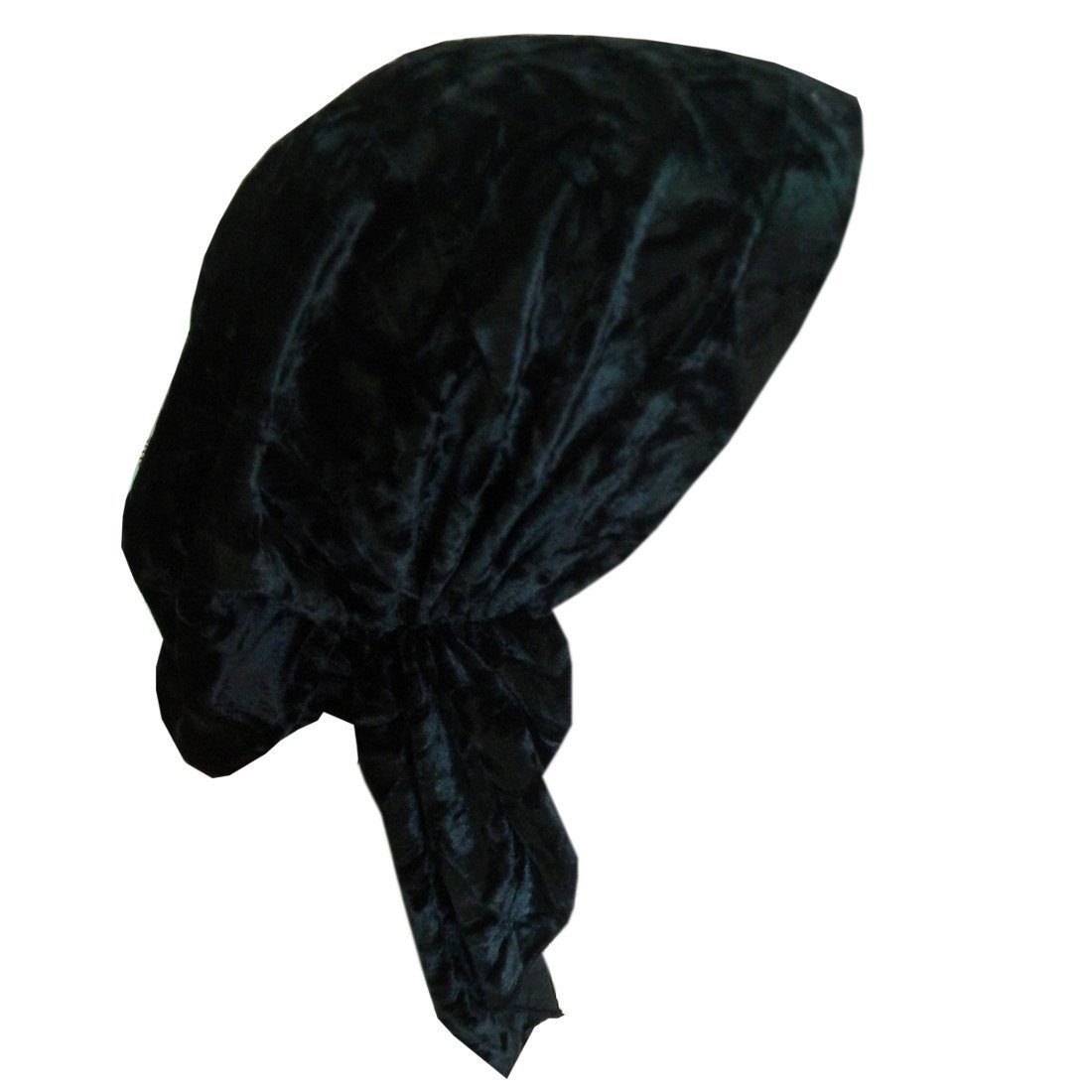 Velour Headscarf Chemo Head Wrap Pretied Bandana - Black LadyBug ptlb-velourshort-black
