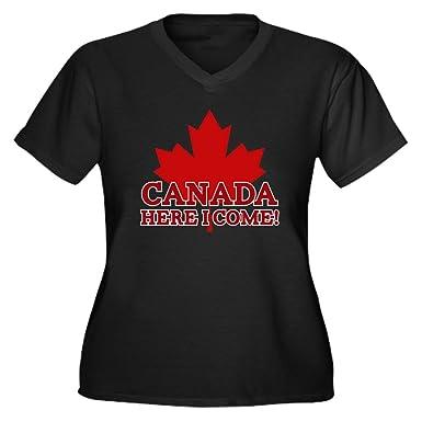 9da1339e2 Amazon.com: CafePress Canada Here - Women's Plus Size V-Neck T-Shirt ...