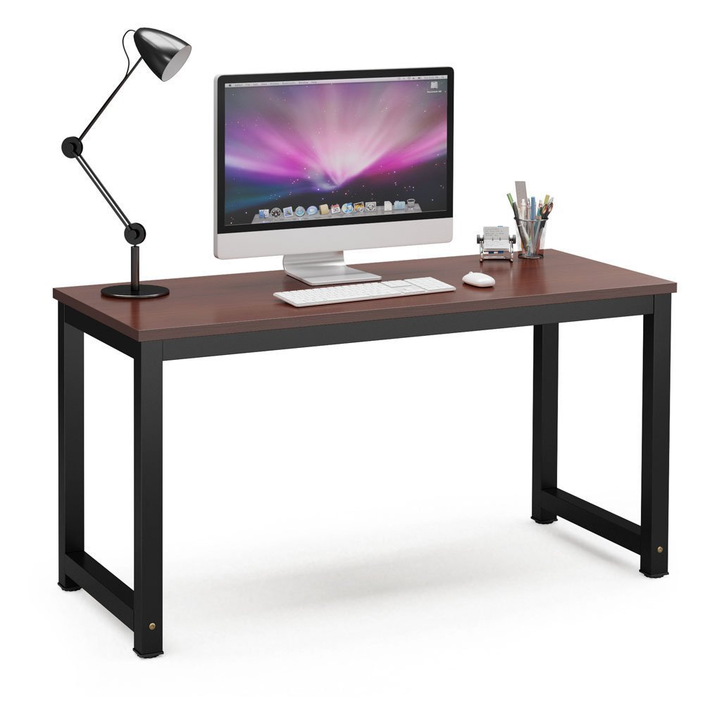 Tribesigns Computer Desk, 55'' Large Office Desk Computer Table Study Writing Desk for Home Office, Teak + Black Leg
