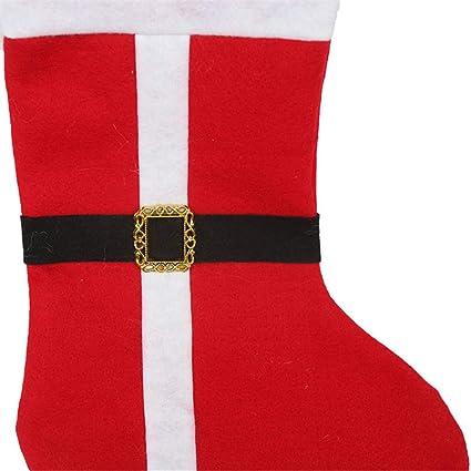 DFH Paquete 2 Calcetines de Navidad de Fieltro Rojo clásico Lindo diseño de Bota de Santa
