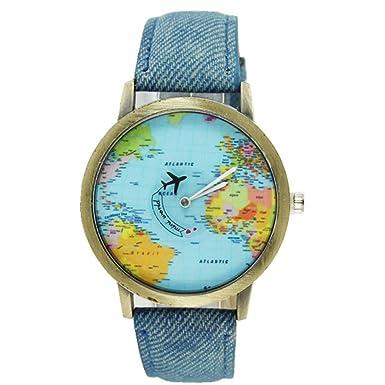 Armbanduhren Damen Mode New Global Travel Mit Dem Flugzeug Karte Frauen Kleid Watch Denim Fabric Band 2018