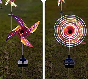 Solar Wind Spinner with Metal Garden Stake, 2-Pack Outdoor Solar Garden Lights, Multi Color Changing LED Solar Powered , Outdoor Wind Catcher Yard Patio Christmas Holiday Decoration