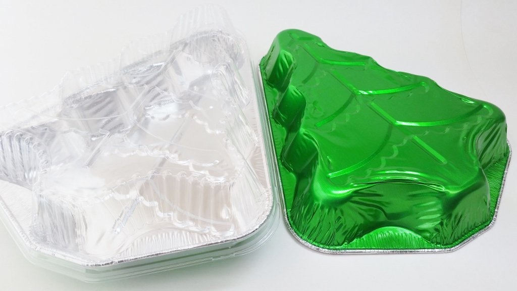 Disposable Aluminum Christmas Tree Cake Pan with Clear Snap on Lid #9501X (100)