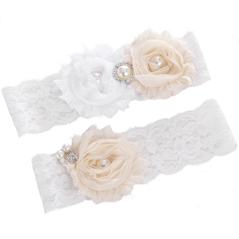 FAIRY COUPLE Bridal Garter White Lace with Flowers & Perle A-G030 (X-Small/ 16 Inches, White)