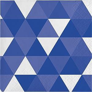 Creative Converting 319971 192 Count Beverage Paper Napkin, Fractal Cobalt