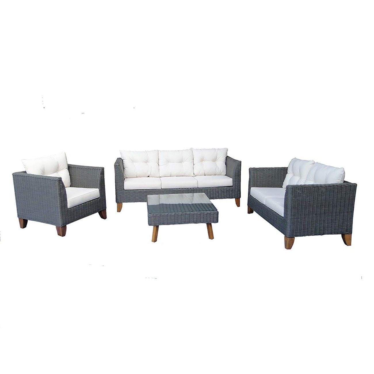 gartenm bel lounge set outliv kreta gartenlounge 4 tlg polyrattan akazie loungem bel outdoor. Black Bedroom Furniture Sets. Home Design Ideas