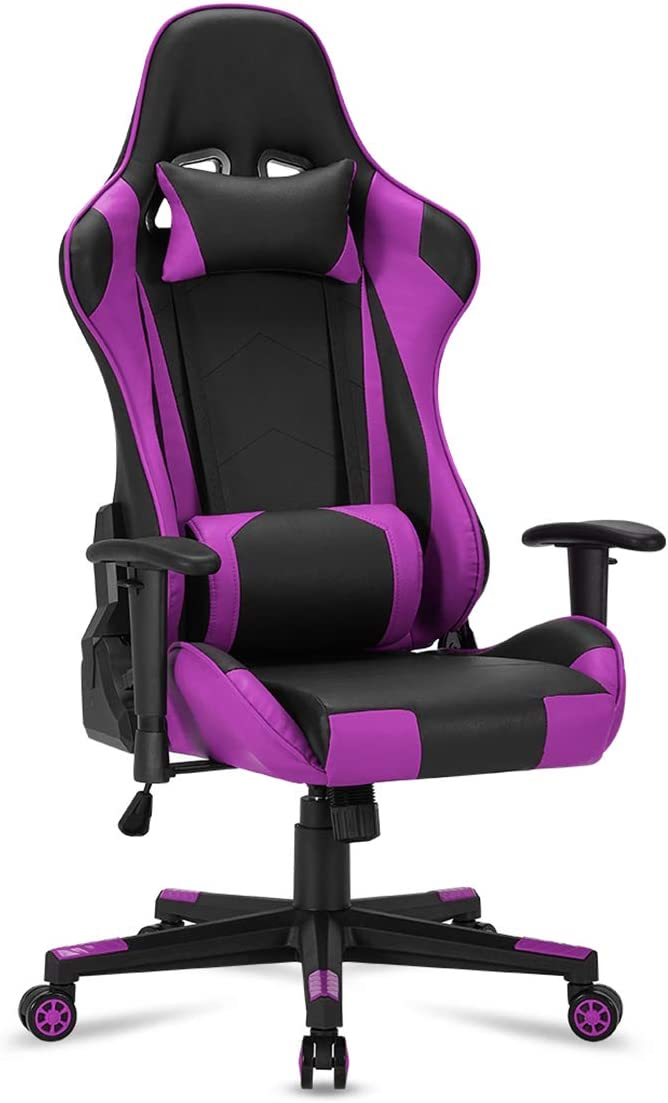YOLENY Gaming Chair Computer Game Chair Office Chair Ergonomic High Back PC Desk Chair Height Adjustment Swivel Rocker with Headrest and Lumbar Support Lumbar Pillow,Purple