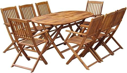 vidaXL Juego de Muebles de Jardín Madera Maciza de Acacia Mesa Sillas Exterior: Amazon.es: Hogar
