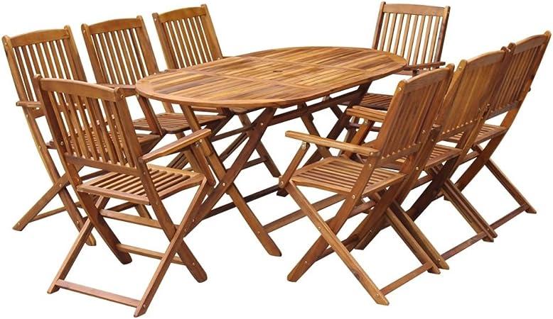 Vidaxl Mobilier De Jardin 9 Pcs Bois D Acacia Massif Salon De Jardin Exterieur Amazon Fr Cuisine Maison