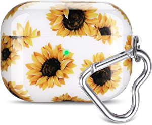 Airpods Pro Case, Olytop Cute Sunflower Airpods Pro Protective Case Cover Printed Hard Skin Women Girl for Apple Airpods 3 Charging Case with Heart-Shaped Keychain AirPods Pro Accessories - Sunflower