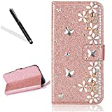Galaxy A5 2017 Diamand Case,Bling Glitter Folio Case for Samsung A5 2017,Leeook Luxury Noble Sparkle Shining Rose Gold Butterfly Flower Pattern PU Leather Wallet Flip Case in Book Style with Card Slots Cash Holder Stand Function Butterfly Magnetic Closure TPU Silicone Inner Protect Cover for Samsung Galaxy A5 2017 + 1 x Black Stylus
