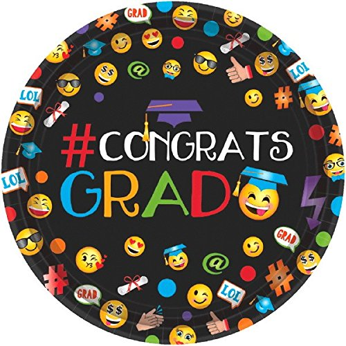 Cool Graduation ''#CONGRATS GRAD'' Emoji Round Plates Party Tableware, Paper, 7'' Diameter, Pack of 60 by amscan (Image #1)