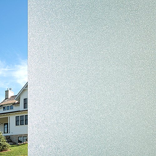 Qualsen Privacy Window Film Frosted Glass Film Matte White Non-adhesive Static Window Cling Anti-UV Window Sticker for Bathroom Home Office Kitchen Living Room Front Door (23.6 x 78.7 Inch) by Qualsen