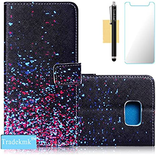 Galaxy S7 Edge Case,S7 Edge Case, Tradekmk(TM);Starry Sky Quality PU Leather Flip Case with Card Slot For Samsung Galaxy S7 Edge, (+Stylus+Screen Sales