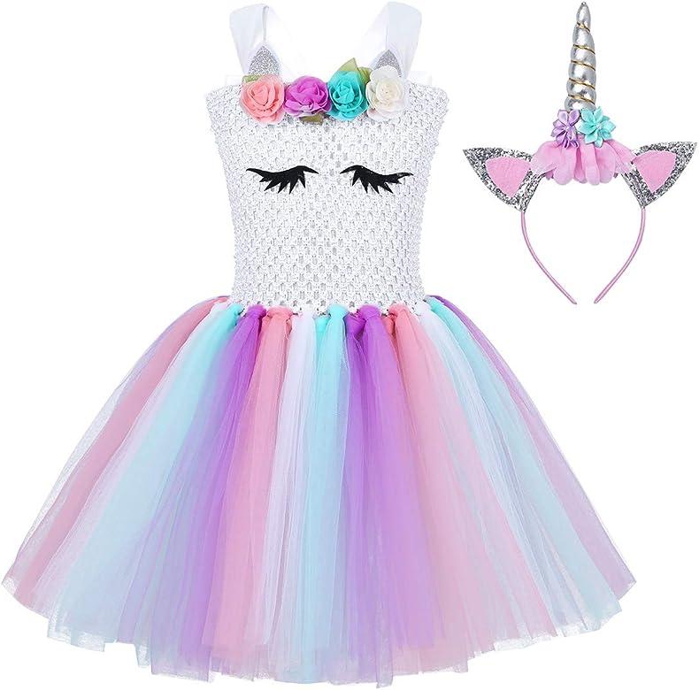 YiZYiF Vestido Unicornio Disfraz Niñas Vestido Tutú Princesa Unicornio Vestido Boda Fiesta Princesa con Diadema Traje Cumpleaños Carnaval Fancy Dress ...