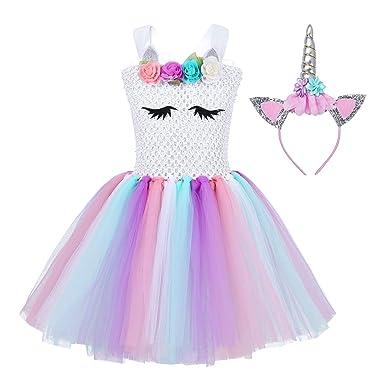 CHICTRY Disfraz Princesa para Niña Disfraz de Navidad Infantil Vestido de Flores Tutu con Argolla de Pelo para Fiesta Cumpleaños Cosplay Carnaval