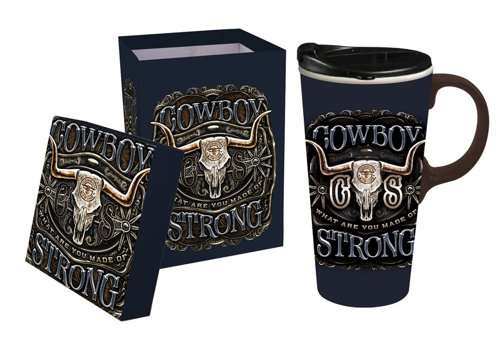 Cypress Home Cowboy Strong Ceramic Travel Coffee Mug, 17 ounces