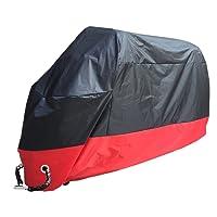 Housse de moto, Rusee Housse de moto,contre la pluie, la neige, la poussière et la saleté, les rayons UV (XL, Schwarz-Rot)