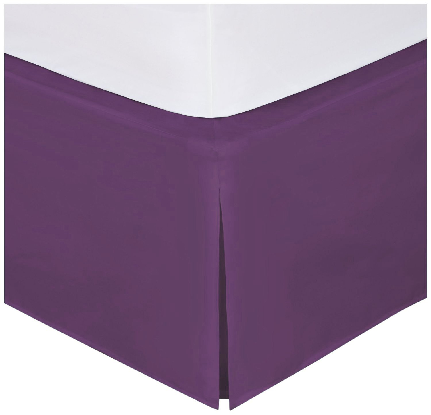 Mk Collection Solid Pleated Bed Skirt 14'' drop New (Queen, Dark Purple)