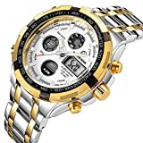 Affute Luxury Sport Digital Analog Quartz Watches for Men Waterproof Led Chronograph Stainless Steel Wristwatch,Gold Silver