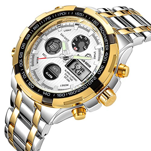 Quartz Silver Wrist Watch (Affute Luxury Sport Digital Analog Quartz Watches for Men Waterproof Led Chronograph Stainless Steel Wristwatch,Gold Silver)