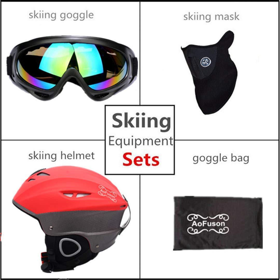 rouge Ski Helmet 56 to 59 cm FERFERFERWON Casque de Snowboard Ensemble d'équipeHommest de Ski Double Couche Anti-buée Grande Vision Masque de Snowboard Masque Femmes et Hommes Ski motoneige Hiver Casque de Sport Chaud