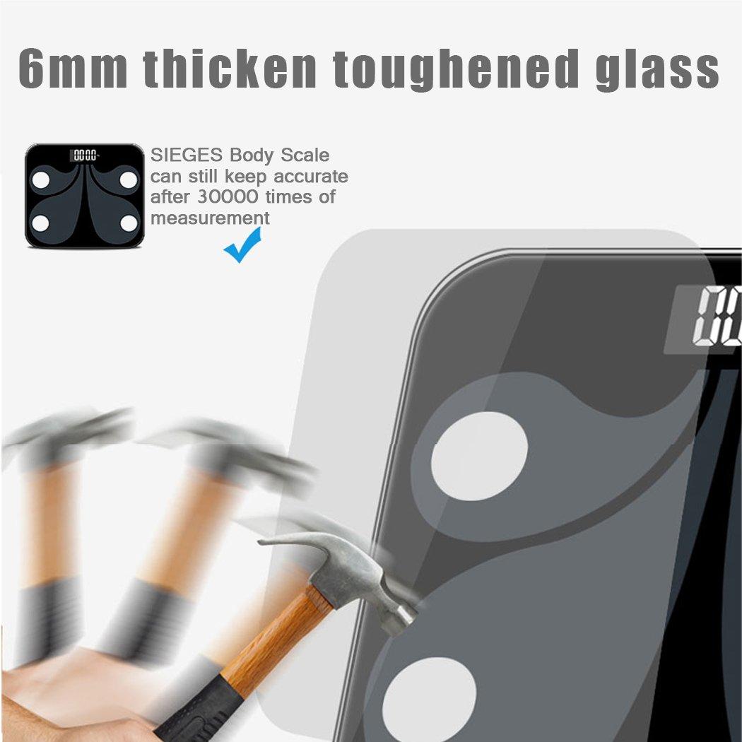 Báscula de baño con Bluetooth, báscula digital inteligente con tecnología Step-On, conecta la aplicación para gestionar el peso, índice de masa corporal ...