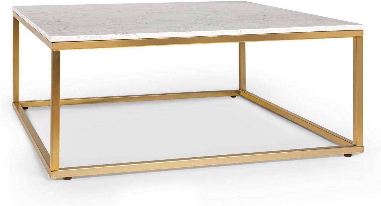 Besoa White Pearl II Mesa de Centro para el sillón - Mesa Auxiliar, 81,5 x 35 x 81,5, Soporte de mármol Blanco, Hecho en Metal con Todos Dorados y Blancos