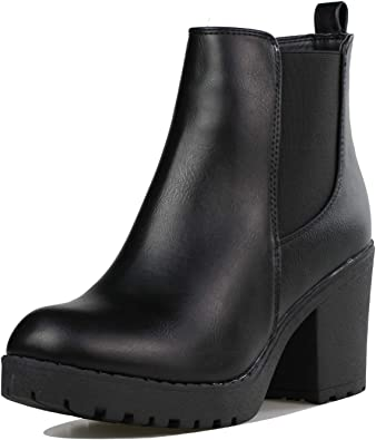 Black Ankle Boots Chunky Heel