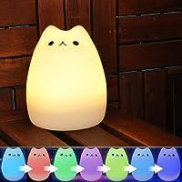YOEEKU Cute Kitty LED Veilleuse pour enfant, Multicolor Lampe en Silicone Souple, Sensitive Contrôle du Robinet, Warm White & 7-Color Respiration Double Modes de Lumière (MultiColore)