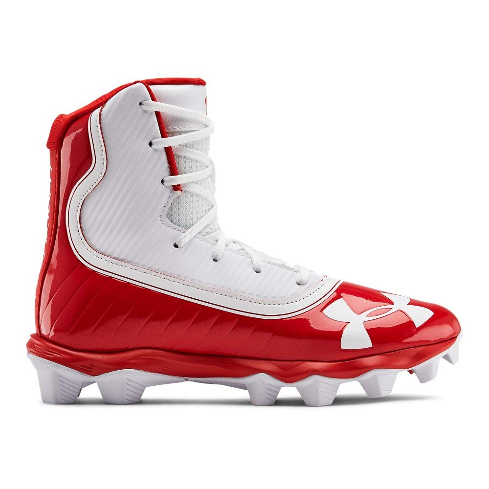 Under Armour Boys' Highlight RM Jr. Football Shoe, Red (600)/White, 1 M US Little Kid