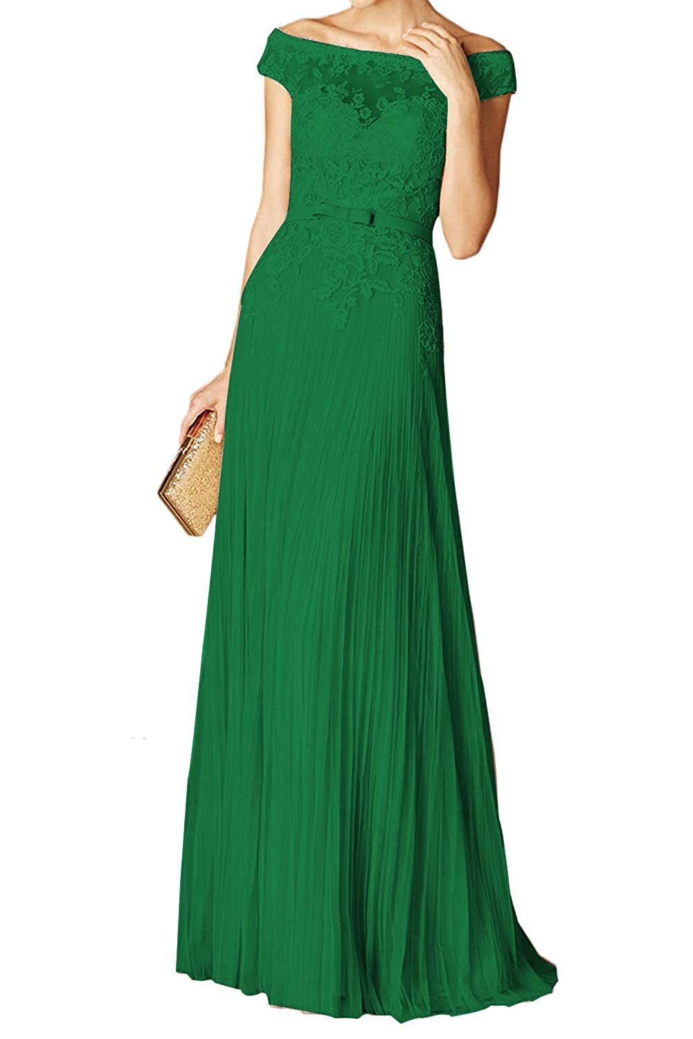 Dark Green PearlBridal Women's Lace Off The Shoulder Prom Dresses Appliques Pleats Long Evening Party Gown