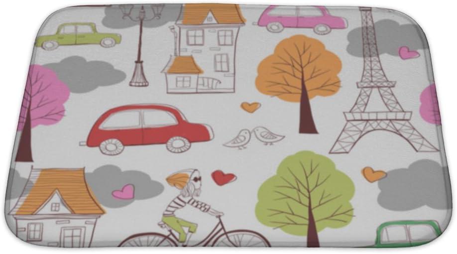 Amazon Com Gear New Pattern Paris Bath Rug Mat No Slip Microfiber Memory Foam Home Kitchen