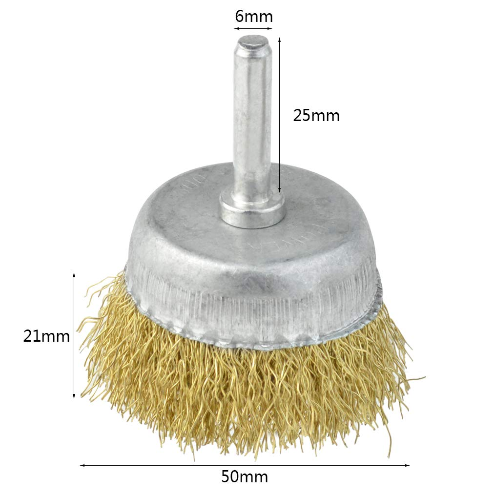 Brass Coated Wire Drill Brush for for Removal of Rust//Corrosion//Paint obmwang 4 Pack Wire Cup Brush with 1//4 Round Shank