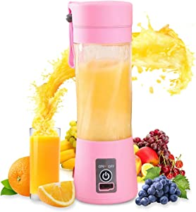 USB Rechargeable Juicer Cup,Portable Blender,Personal Blender, Small Fruit Mixer, Electric USB Rechargeable Fruit Mixing Machine Home,Travel 380ml (pink)