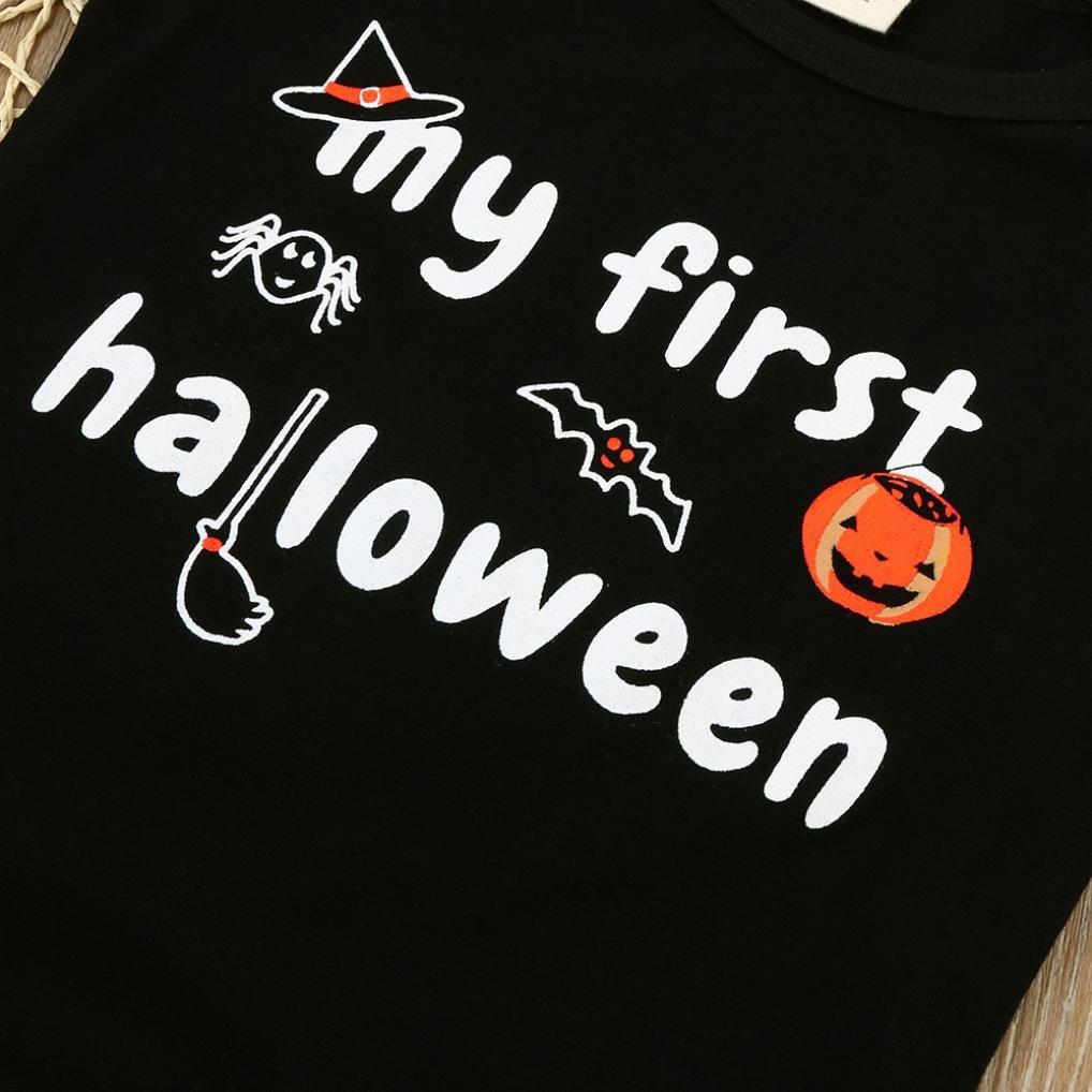 URSING S/äugling Baby Jungen Baby M/ädchen Halloween K/ürbis O-Hals Lange /Ärmel Mein erstes Halloween gedruckt Spielanzug Overall Kleider 3-18 Monate