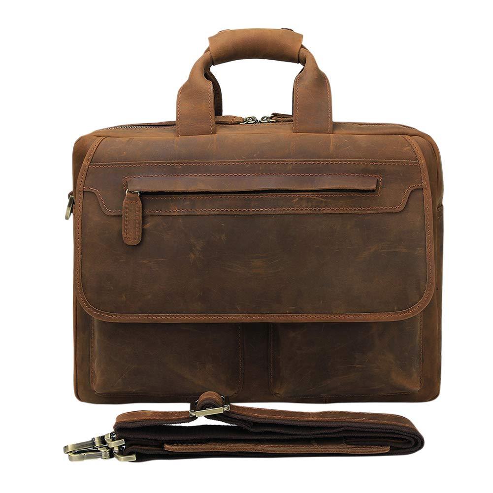 Genda 2Archer(JP)ビジネスバッグ パソコンバッグ バッグ レトロ 大容量 牛革 本革 メンズ 手提げ 肩掛 B07Q818CJY