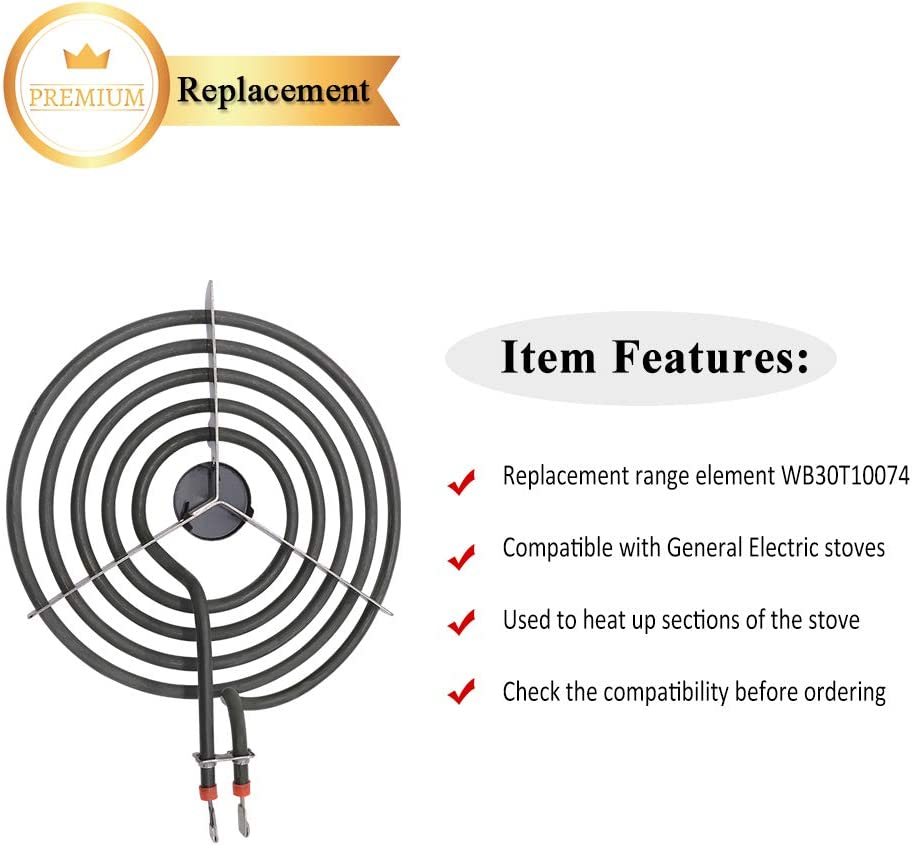 4Pack WB30T10074 and WB30T10078 Electric Range Surface Element Burner Kit by Primeswift Compatible with General Electric AP3186376,PS243922
